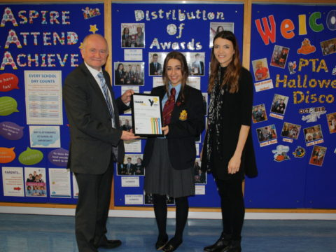 Downshire student receives Certificate of Appreciation from Young Enterprise
