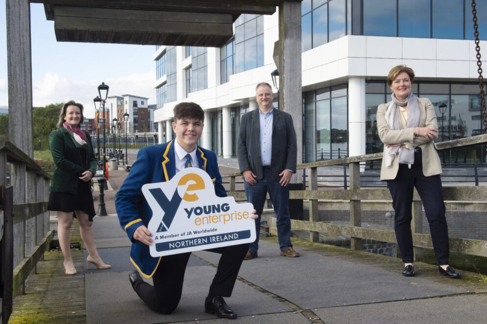 L-R:  Carol Fitzsimons, MBE, CEO, Young Enterprise NI; Jacob Patterson, MD of Offshore, Belfast High School, Young Enterprise Company of the Year Winners 2020; John Healy, Vice President & Managing Director, Allstate NI and Professor Gillian Armstrong, Director of Business Engagement, Ulster University Business School